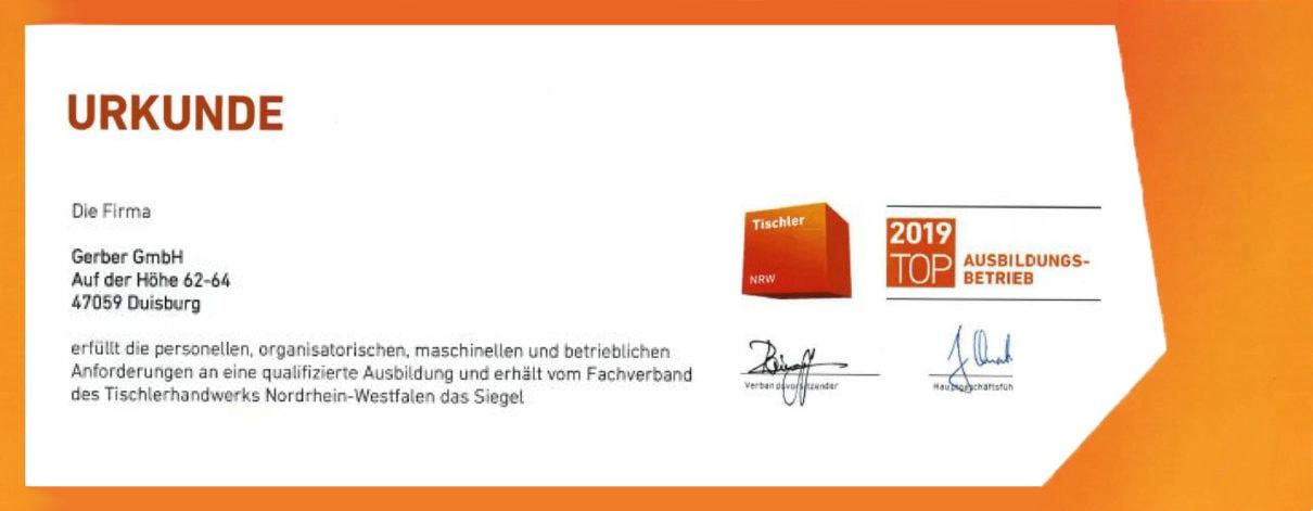 Tischlerei Duisburg Gerber GmbH ist TOP Ausbildungsbetrieb